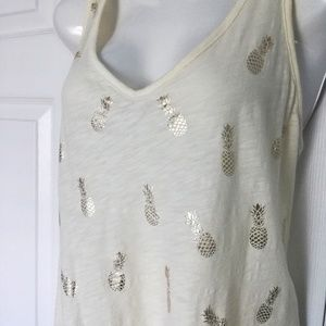 NY&C cream colored tank w/ gold foil pineapples